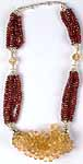 Faceted Garnet & Citrine Beaded Necklace from Rajasthan