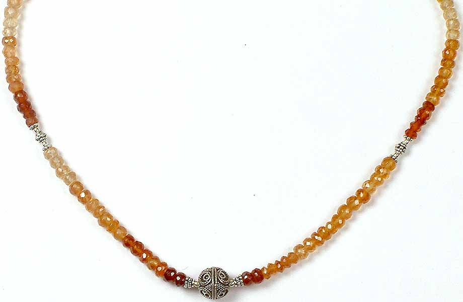 faceted hessonite necklace