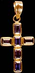 Faceted Iolite Cross Pendant