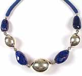 Faceted Lapis Lazuli Necklace with Sterling Beads & Matching Cord