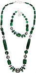 Faceted Malachite Necklace with Matching Bracelet Set