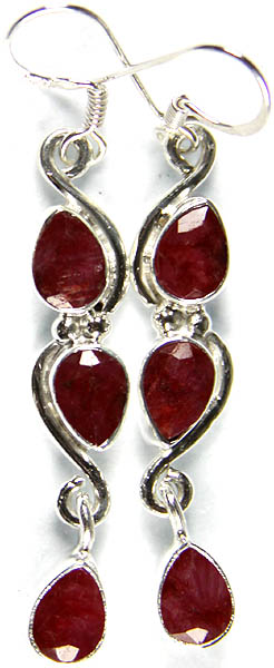 Faceted Ruby Earrings