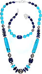 Faceted Turquoise and Lapis Lazuli Necklace with Bracelet Set