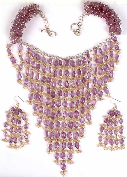 Fine Chandelier Necklace With Matching Earrings Amethyst