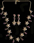 Fine Cut Amethyst Floral Necklace and Earrings Set (Amethyst = 19.35 Carats)