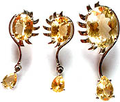 Fine Cut Citrine Pendant with Earrings Set