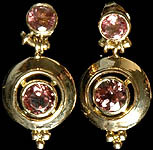 Fine Cut Pink Tourmaline Post Earrings