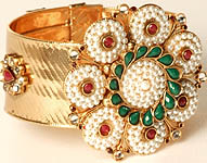 Floral Polki Cuff Bracelet with Faux Pearls