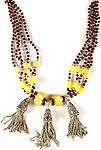 Garnet and Yellow Chalcedony Beaded Necklace with Sterling Showers