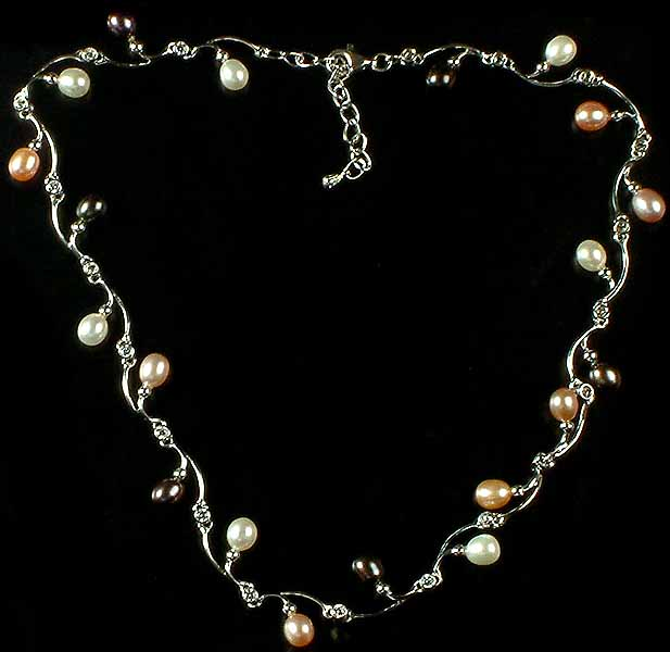 Gemstone Designer Necklace with Pearls