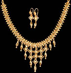 Gold Plated Earrings and Necklace Set