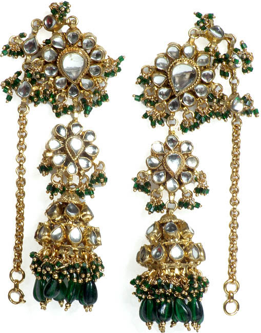 Green Earwrap Kundan Umbrella Earrings with Glass Beads