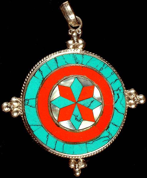 inlay dharmachakra pendant