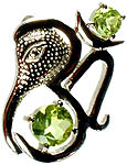 Fine Cut Twin Peridot Ganesha Pendant with Om (AUM)