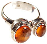 Twin Amber Finger Ring