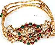 Faux Ruby, Emerald and Pearl Polki Bracelet with Screw Clasp