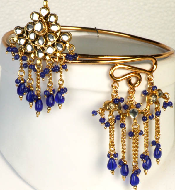 Kundan Armlet with Royal-Blue Glass Beads