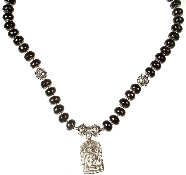 lord venkateshvara necklace beaded in faceted black onyx