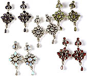 Lot of Five Faceted Gemstone Earrings (Iolite, Peridot, Cubic Zirconia, Rainbow Moonstone and Garnet)