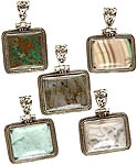 Lot of Five Gemstone Rectangle Pendants (Azure Malachite, Fluorite, Labradorite, Fluorite and Picture Jasper)