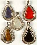 Lot of Five Gemstone Tear Drop Pendants