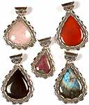 Lot of Five Gemstone Tear Drop Pendants<br>(Rose Quartz, Carnelian, Ruby Zoisite, Black Onyx & Labradorite)