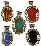 Lot of Five Large Gemstone Pendants<br>(Tiger Eye, Carnelian, Turquoise, Lapis Lazuli & Black Onyx)