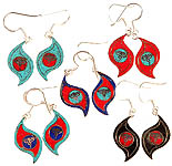 Lot of Five Nepalese Inlay Earrings with Swayambhunath Eyes