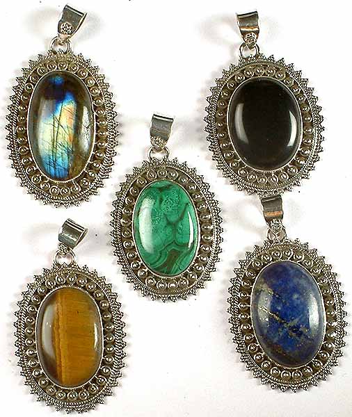 Lot Of Five Oval Gemstone Pendants (Labradorite, Black Onyx, Malachite, Tiger Eye & Lapis Lazuli)