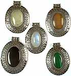 Lot of Five Oval Gemstone Pendants with Spirals<br>(Prehnite, Tiger Eye, Rainbow Moonstone, Black Onyx & Malachite)
