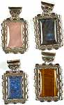 Lot of Four Rectangular Gemstone Pendants<br>(Rose Quartz, Labradorite, Lapis Lazuli & Tiger Eye)