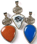 Lot of Three Gemstone Pendants (Dendrite, Sunstone and Blue Chalcedony)