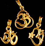 Lot of Three Handcrafted Om Pendants