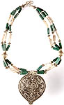 Malachite and Pearl Beaded Necklace with Ratangarhi Pendant