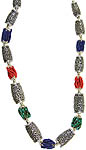 Nepalese Superfine Handcarved Necklace with Coral, Turquoise and Lapis Lazuli