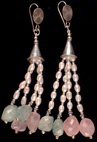 Pearl, Aquamarine & Rose Quartz Earrings