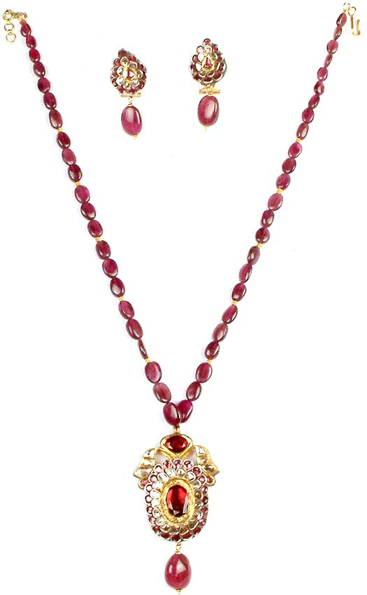 victorian ruby necklace earrings set with meenakari