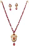 Victorian Ruby Necklace & Earrings Set with Meenakari