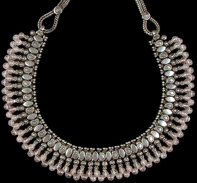 Jewelry gt necklaces gt rose quartz beaded necklace from rajasthan