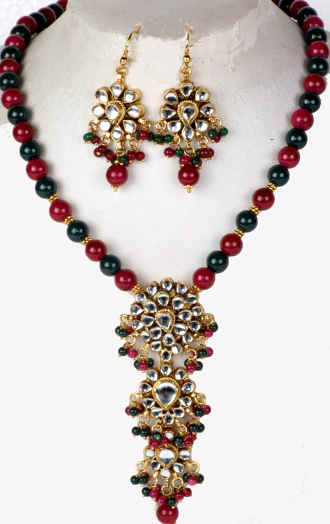 Ruby and Emerald Colored Kundan Necklace with Glass Beads and Earrings