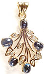 Sapphire Handcrafted Pendant with Diamonds and Valentine