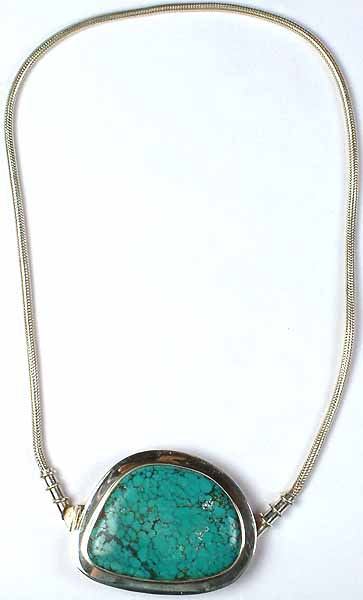 Spider's Web Turquoise Necklace