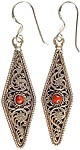 Sterling Filigree Earrings with Central Coral