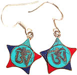 Tibetan Om (AUM) Inlay Earrings