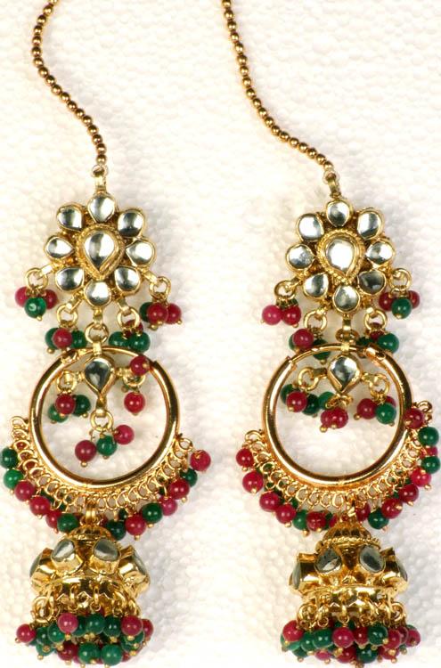 twin design kundan earwrap jhumka earrings with faux ruby