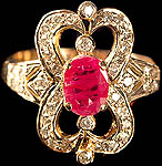 Victorian Diamond Finger Ring with Central Ruby