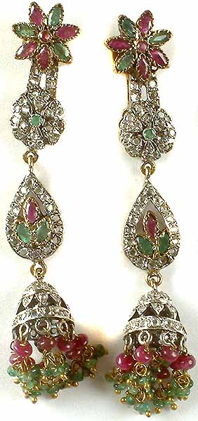 Victorian Earrings with Ruby and Emerald
