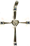 White Gold Cross Valentine Pendant with Sapphire and Diamonds (Four Sapphires+ .11 Carats, Three Diamonds = .04 Carats)