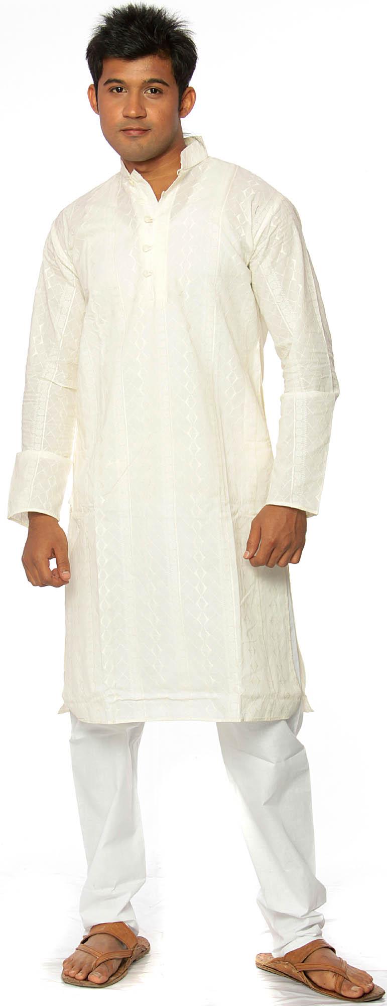 Cream Kurta Pajama With AllOver Embroidery