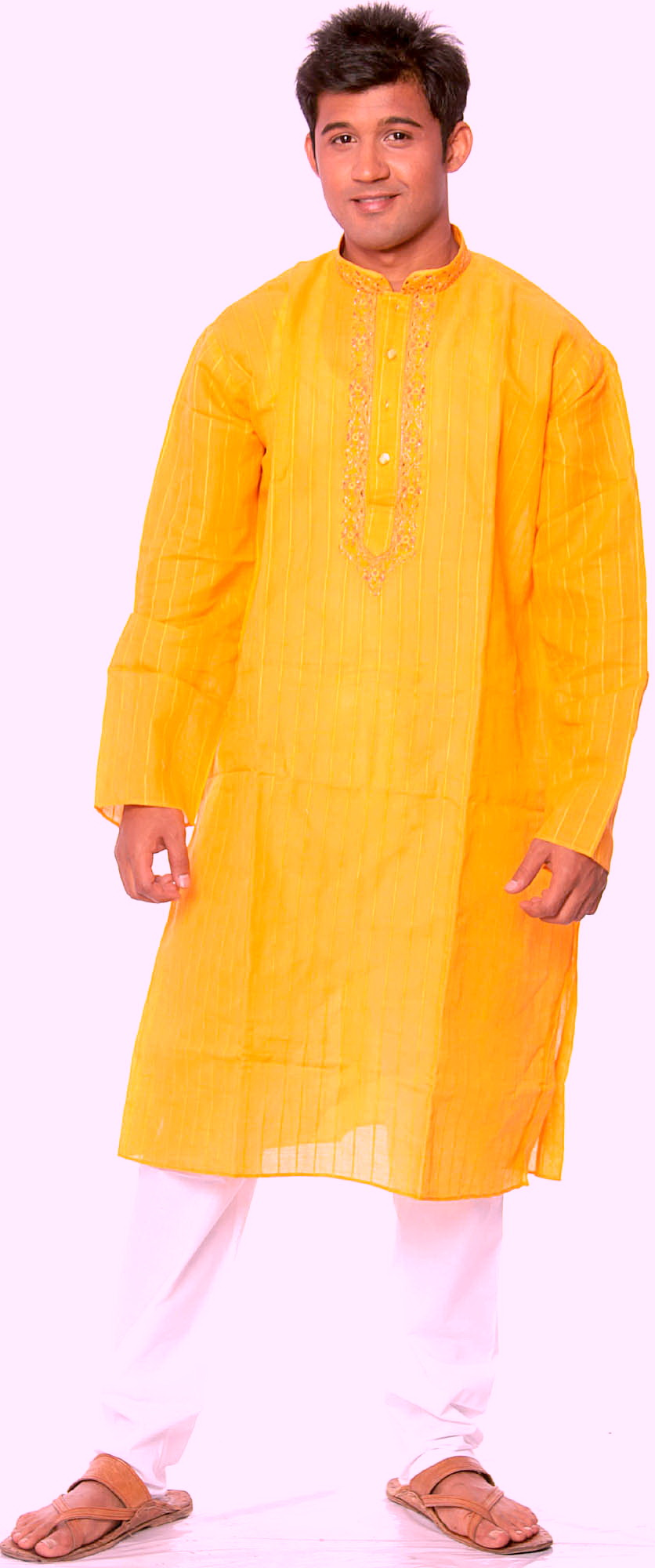 Amber Kurta Pajama With Woven Stripes And Embroidery On Neck